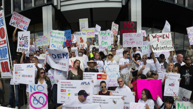 Hundreds March Against Prop 60 in Rousing L.A. Rally