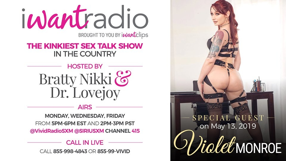 Violet Monroe to Appear on iWantRadio's Dr. Lovejoy and Bratty Nikki Show