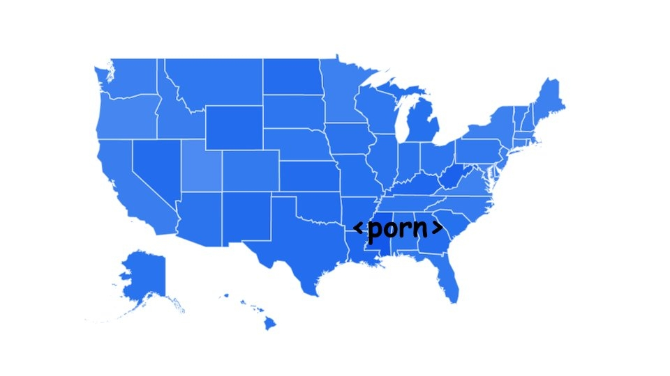 Southern States Top Google Searches for 'Porn' in Last 15 Years