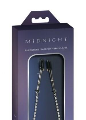 Midnight Rhinestone Teardrop Nipple Clips