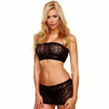 Jacquard Tube Top And Mini Skirt Set