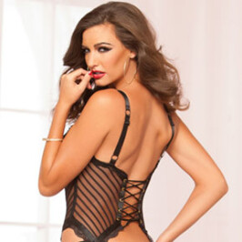 Shadow Stripe and Lace Bustier